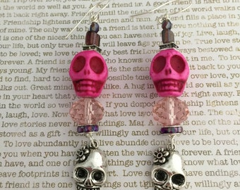 Sugar Skull Earrings - OOAK - In Pink With Howlite Gemstones Sugar Skulls Day of the Dead Jewelry Skulls Dia de los Muertos All Saints Day