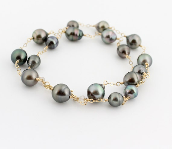 Natural Saltwater Pearl Necklace: Tahitian Pearl Necklace Saltwater Black Pearls Green