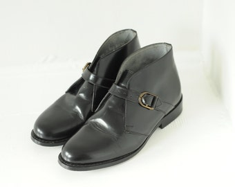 Vintage Stuart McGuire Black Patent Leather Ankle Boots, Mens 7 / ITEM194
