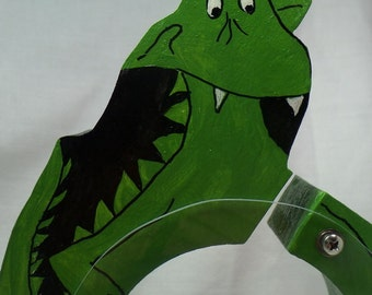 Goofy Green Dragon Wooden Coin Bank - Free Personalization