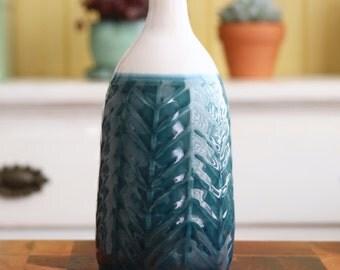 Ceramic Bottle Vase - Herringbone Deep Sea Blue - Handmade Pottery - Modern Geometric Home Decor - READY TO SHIP