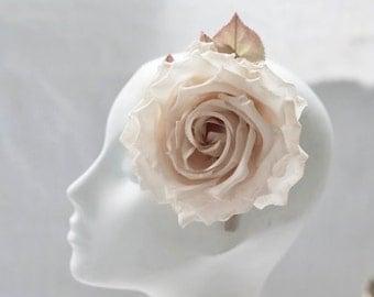 2 x Beautiful Ivory Silk Flowers - Bridesmaid Fascinator - Hair Flower - Ivory Headband - Ivory Wedding Accessory - Rose Hair Clip - Onyeka