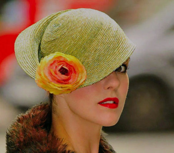 Sculpted Mint Green Sunflower Hat - Hat for Races - Melbourne Cup - Digby