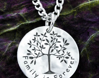Family Tree Silver Necklace, hammered silver