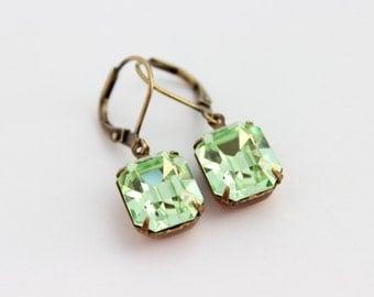 Chrysolite earrings, Green Swarovski earrings,  light mint earrings, pale green earrings, spring wedding, octagon earrings, mint green CS05