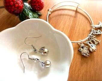 Silver Rockabilly Cherry Charm Earrings-CHOOSE Ear Hooks or Necklace-Gift for Pie Baker, Mom, Teacher-Summer Cherry Jewelry-Apple Fashion