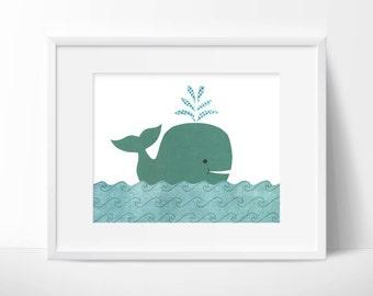 Big Blue Whale - Nursery or childrens room artwork, boy, blue, ocean theme