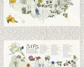 Moda fabric panel STATE FLOWERSCAPES- state flowers on ivory, USA map 47000-11