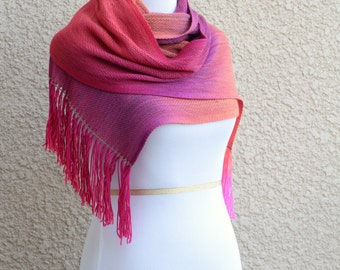 Bridesmaids gift, ombre scarf, Bridal party gift, woven scarf, pashmina scarf in neon pink fuchsia orange purple with fringe