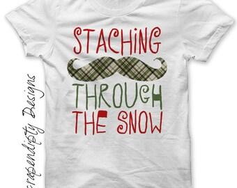 Iron on Winter Shirt PDF - Christmas Iron on Transfer / Staching Through the Snow / Kids Christmas Outfit / Boys Christmas Shirt IT507-P