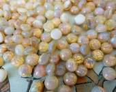 24 glass cabochons, Ø5mm, moonopal, round