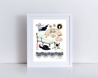 Marie Antoinette Collage Painting Versailles Art Paris Painting Paris Wall Decor Versailles Painting French Wall Art Princess Art Canvas Art