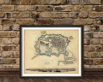Old map of Toulon (France)  - Toulon map fine print - La carte de Toulon