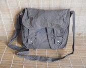 Vintage Light Weight Green Grey Canvas Cross Body Bag Messenger Bag