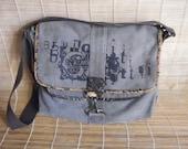 Vintage Green Grey Canvas Cross Body Bag Messenger Satchel Computer Bag