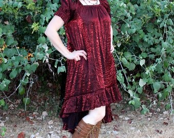 Ragamuffin Dress with Cora Sleeves in Burgundy Crinkled Shimmer Satin -- Custom Made in Your Size and Color Choice