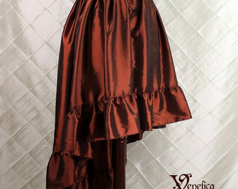 """Steampunk High Low Cecilia Skirt, Longer Length -- Cranberry Taffeta -- Ready to Ship -- Best Fits Up To 48"""" Waist"""