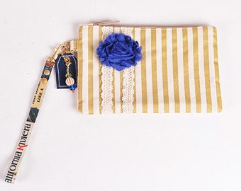 Gold Stripe & Lace Wristlet Clutch