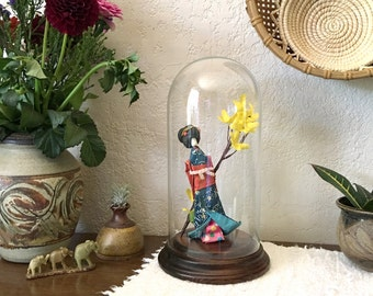 Tall Glass Dome Cloche Terrarium Display with Wood Base