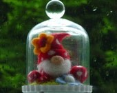 felted fairy gnome, gnome under the dome, handmade, wool, felt, fairy,Waldorf inspired, ornament, READY TO SHIP