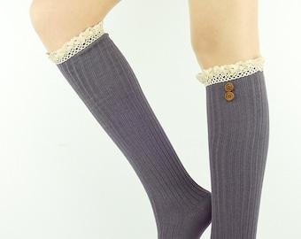 Grey Leg warmers Legwarmers Women's Leg warmer Socks Women's Socks Knit Leg Warmers Knitted Leg warmers grey tall socks women's boot socks