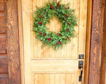 Christmas BOXWOOD Wreath-Winter Door Wreath-Holiday Wreath-Outdoor Wreath-Christmas Wreath-Weatherproof Wreath-Christmas Home Decor-Gifts