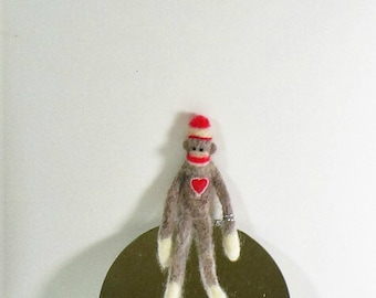 Mini Sock Monkey with a Heart, Needle Felted soft sculpture