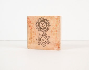 Henna Art Block, Art Blocks, Boho Art, Wood Printing, Wood Block Art, Distressed Art, Small Art, Art Print, Vintage look, Henna Design