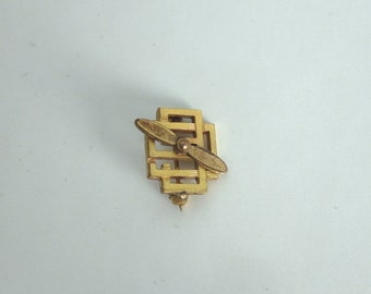 Vintage NINETY NINES  Inc 99 Pin Brooch WOMEN Pilots Organization Propellor Gold Filled Plated
