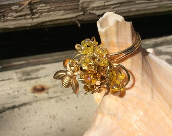 Charm Ring, Wire Wrapped, Adjustable, Gold Plated Brass, Brass Wire, Glass & Metal Beads, Aluminum Roses, Golden Honey Bees