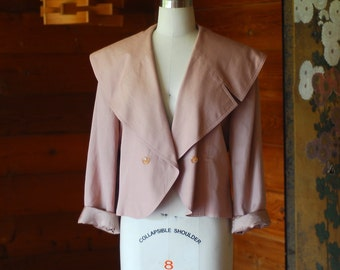 vintage dusty rose short trench jacket / size medium large