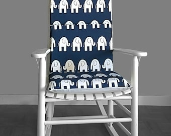 Navy Blue Elephants Nursery Rocking Chair Cushion Cover