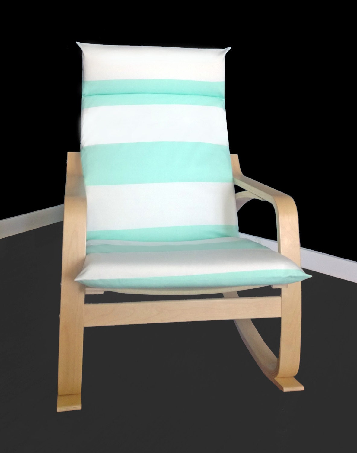 patterned ikea po ng cushion chair cover cabana stripe mint