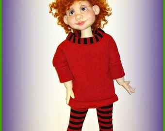 Cozy Red Sweatshirt Tunic and Striped Leggings Set, Handmade Doll Clothes fits 19 inch Trinket Box Kids BJD by Kimberley Arnold