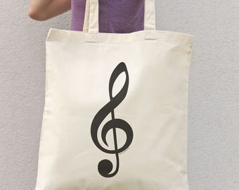Treble clef tote bag-music tote bag-musician tote bag-gift for musician-custom tote bag-music teacher gift-music clef-NATURA PICTA-NPTB094