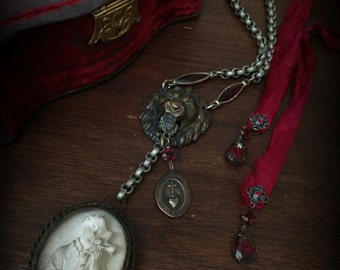 Gothic Necklace with Lion Head and Saint Keeper of the Faith Necklace Lion Necklace Mens Necklace Antique Gothic Jewelry Mens Jewelry Red