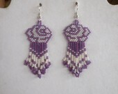 Native American Style Beaded Pearl and Purple Rose Earrings Brick Stitch Gypsy Boho, Southwester, Hippie Hand Made Tribal Ready to Ship