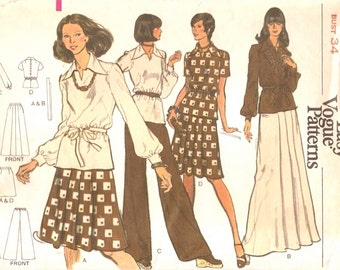 Boho Uncut Vintage 1970s Very Easy Vogue  8706 Tunic Top, Flared Regular or Maxi Skirt and Wide-Leg Pants Sewing Pattern B34 W26.5