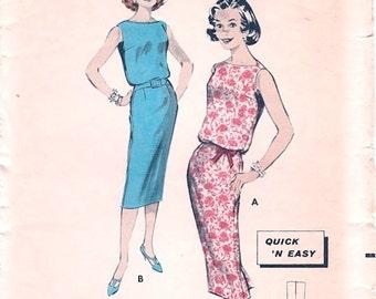 Nice Vintage 1950s Butterick 8586 Sleeveless Blouson Slim Chemise Dress Sewing Pattern B35