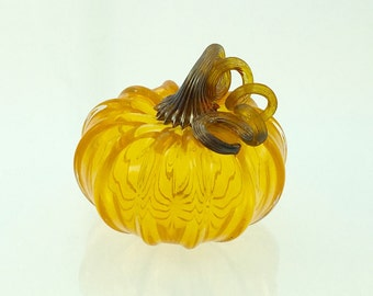 Glass Pumpkin by Jonathan Winfisky - Transparent Citrus Orange - Hand Blown Glass