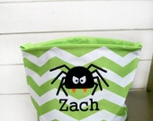 Personalized Spider trick or treat bag, Personalized Halloween spider bag for kids