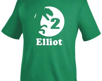 Personalized dinosaur birthday shirt, boys dinosaur party shirt