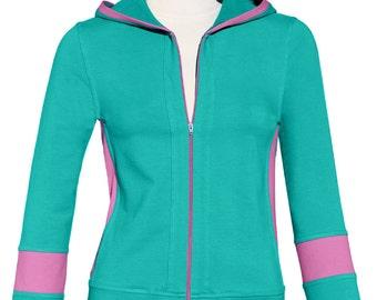 TEAL / PINK Yoga Hoodie / Jacket / 36.00 / FREE usa Ship 1-3 days / On Sale Ships Fast