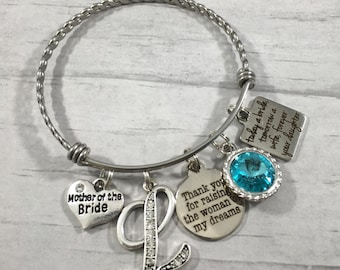 MOTHER of the Bride GIFT, Today a Bride, Mother of the groom gift, Mother in law gift, Bangle bracelet, wedding keepsake, gift from bride