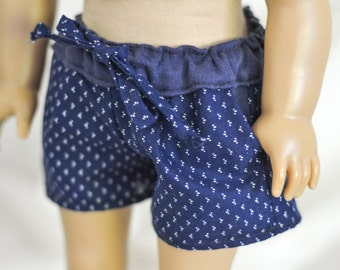 SALE Blue Drawstring Shorts for American Girl Dolls