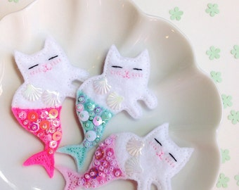 Meowmaid Mermaid Kitty Felt Brooch - Spring Collection