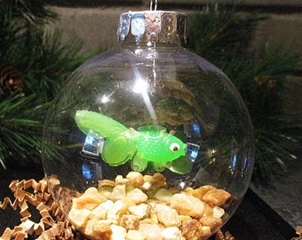 Fish Bowl Ornament - Green Fish w/Lt. Brown Stones - Christmas Ornament, Co-Worker Gift, Ornament Exchange Gift