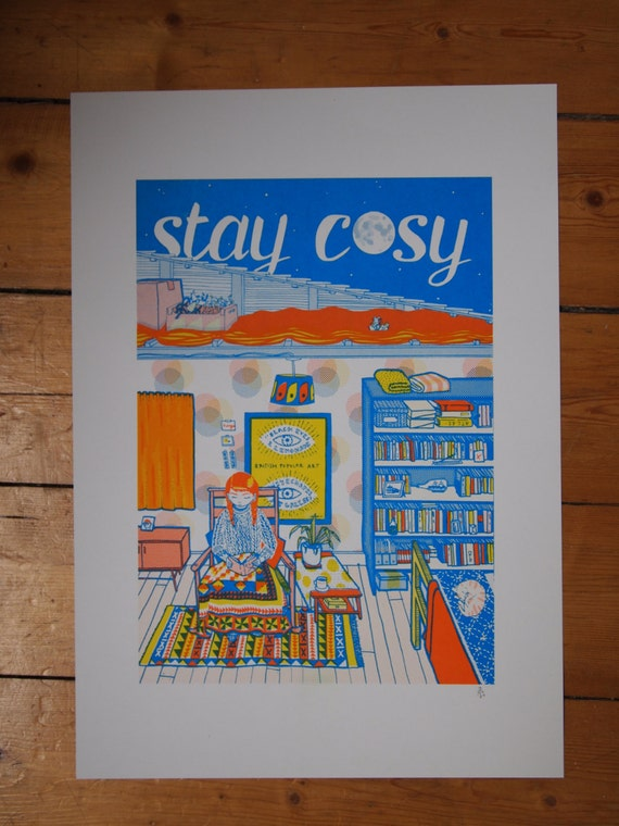 Stay Cosy - three-colour A3 risograph print