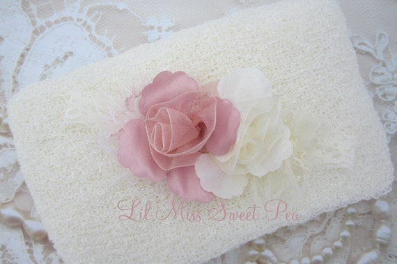 Cream/Ivory swaddle wrap AND / OR matching ribbon flower stretch lace headband for newborn photo shoots, Lil Miss Sweet Pea, 31