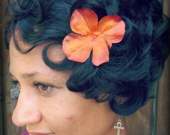 Orange Autumn hair flower clip, orange hydrangea, fall fantasy, autumn hair accessories, orange hair flower